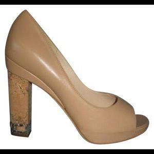 Chanel nude peep toe Cork Heels